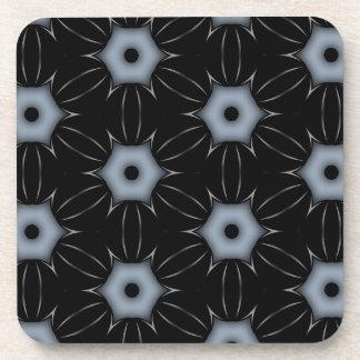 Black with Grey Dots Kaleidoscope Pattern Drink Coaster