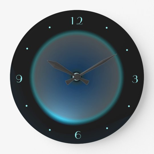 Black with Illuminated Blue/Aqua Face >Wall Clock
