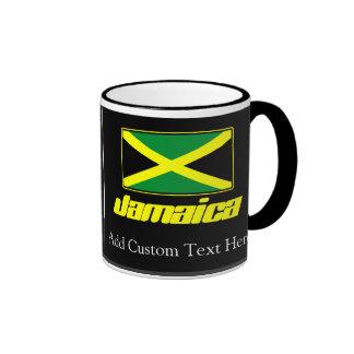 Black with Jamaica Flag Ringer Mug