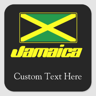 Black with Jamaica Flag Square Sticker