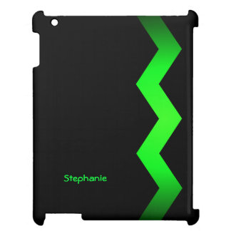 Black with Lime Green Zigzag Custom Name Case For The iPad