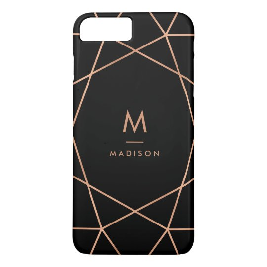 Black with Modern Faux Rose Gold Geometric Pattern iPhone 8 Plus/7 Plus Case