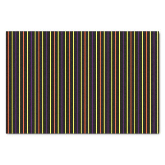Black with Multi-Colour Halloween Stripes 02 Tissue Paper