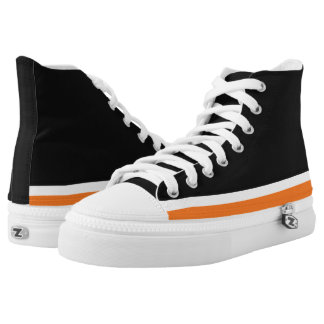 Black with Orange and White Trim Hi-Top Printed Shoes