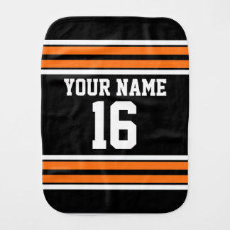 Black with Orange White Stripes Team Jersey Burp Cloth