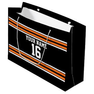 Black with Orange White Stripes Team Jersey Large Gift Bag