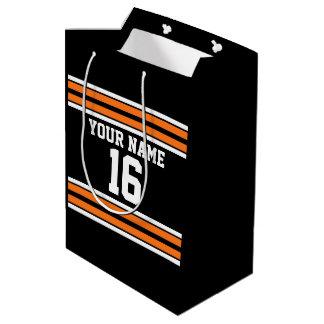 Black with Orange White Stripes Team Jersey Medium Gift Bag