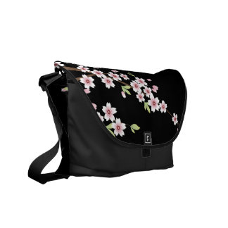 Black with Pink and Green Cherry Blossom Sakura Courier Bag