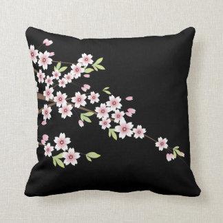 Black with Pink and Green Cherry Blossom Sakura Cushion