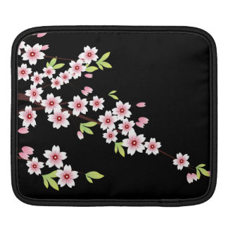 Black with Pink and Green Cherry Blossom Sakura iPad Sleeve