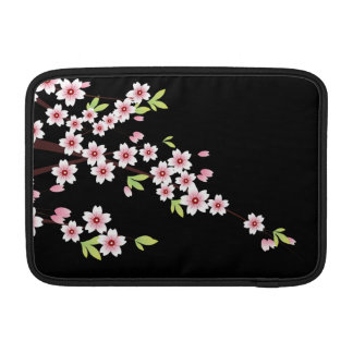 Black with Pink and Green Cherry Blossom Sakura MacBook Sleeves