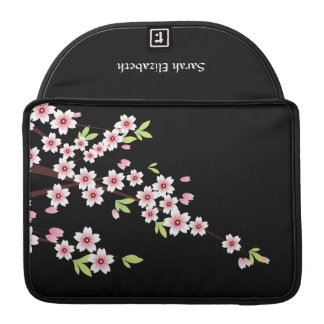 Black with Pink and Green Cherry Blossom Sakura MacBook Pro Sleeve