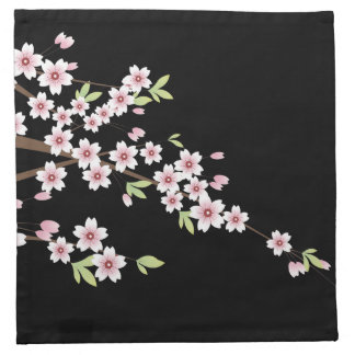 Black with Pink and Green Cherry Blossom Sakura Napkin