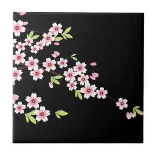 Black with Pink and Green Cherry Blossom Sakura Small Square Tile