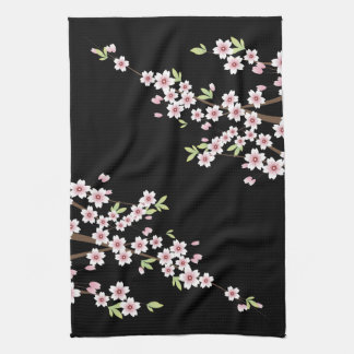 Black with Pink and Green Cherry Blossom Sakura Tea Towel