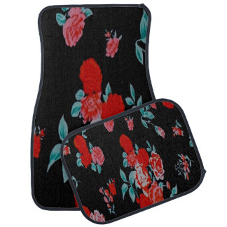 Black with Pink and Red Flowers Set of 4 Car Mats