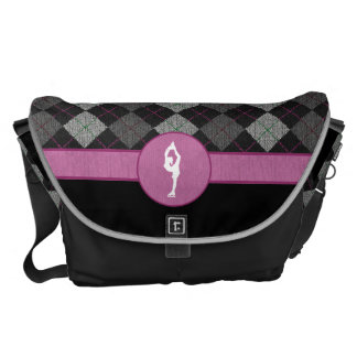 Black with Pink Argyle Figure Skater Commuter Bags