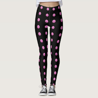 Black With Pink Daisies Leggings