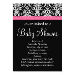 Black with Pink Damask Baby Shower Personalised Invitations
