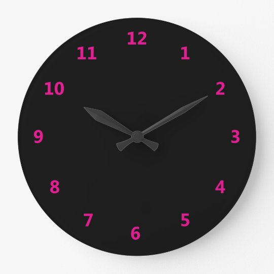 Black with Pink Numbers Large Clock