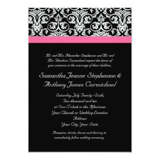 Black with Pink Passion Damask 13 Cm X 18 Cm Invitation Card