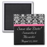 Black with Pink Passion Damask Fridge Magnets