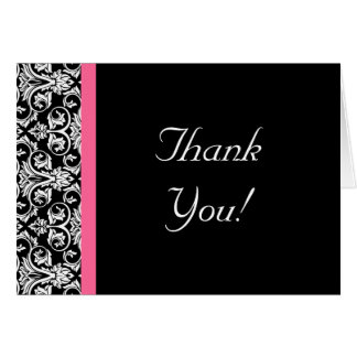 Black with Pink Passion Damask Note Card
