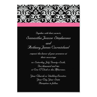 Black with Pink Passion Wedding Invitations