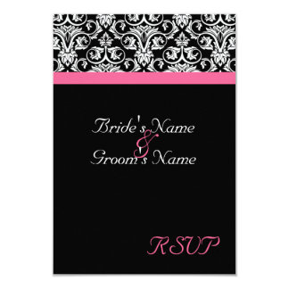 "Black with Pink Passion Wedding Matching RSVP 3.5"" X 5"" Invitation Card"