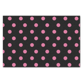 Black with pink polka dots tissue paper