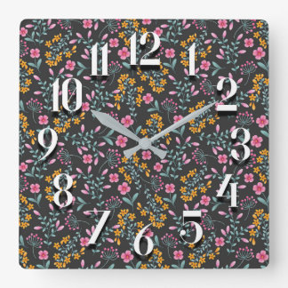 Black with Pink Yellow Floral Wall Clock