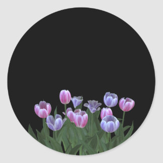 Black with Pretty Tulip Flowers Stickers