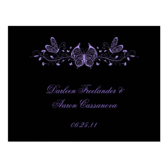 Black with Purple Butterflies Postcard