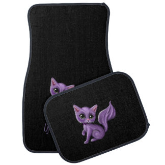 Black with Purple Kitty Car Mat