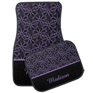 Black with Purple Sketched Daisies Monogram Car Mat