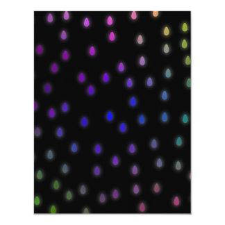Black with rainbow color rain drops. 11 cm x 14 cm invitation card