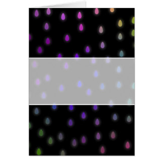 Black with rainbow color rain drops. greeting card
