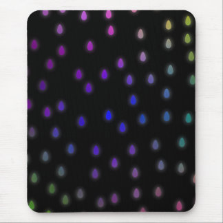 Black with rainbow color rain drops mouse pads