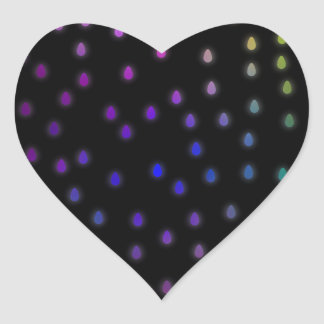 Black with rainbow color rain drops stickers