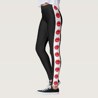 Black with Red Lipstick Stripe Leggings