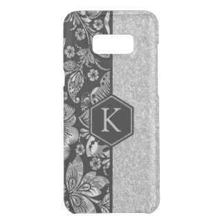 Black With Silver Glitter & Damasks Monogram Uncommon Samsung Galaxy S8 Plus Case