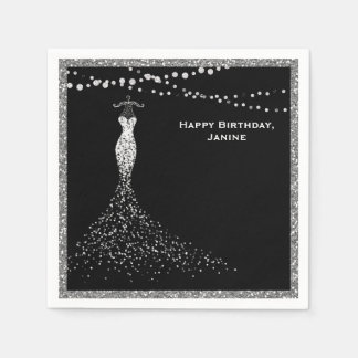 Black with Silver Glitter Sweet 16 Disposable Napkin