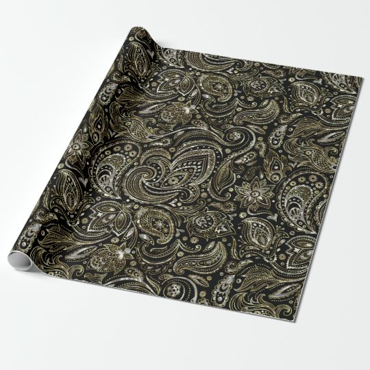 Black With Silver & Gold Floral Paisley Wrapping