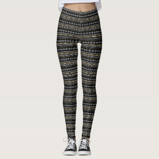black with silver tribal design leggings