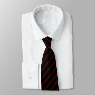 Black with Thin Red Diagonal Stripes Tie
