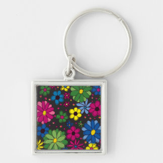 Black with Vibrant, Colorful Flowers Keychain Keychains
