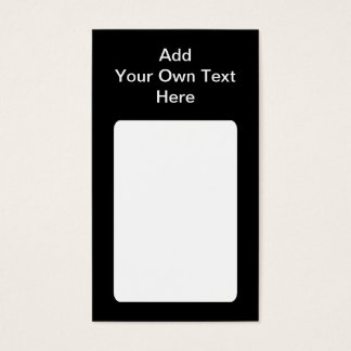 Black with White Area and Custom Text. Business Card