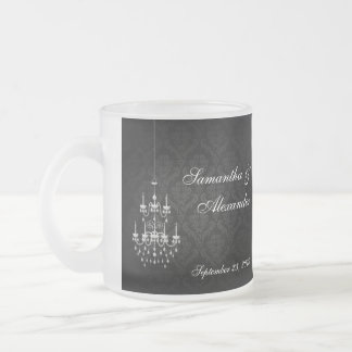 Black with White Chandelier Silhouette Frosted Glass Coffee Mug