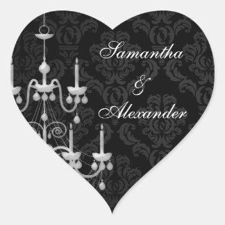 Black with White Chandelier Silhouette Heart Sticker