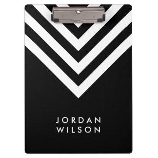 Black with White Chevron Modern Minimalist Clipboard